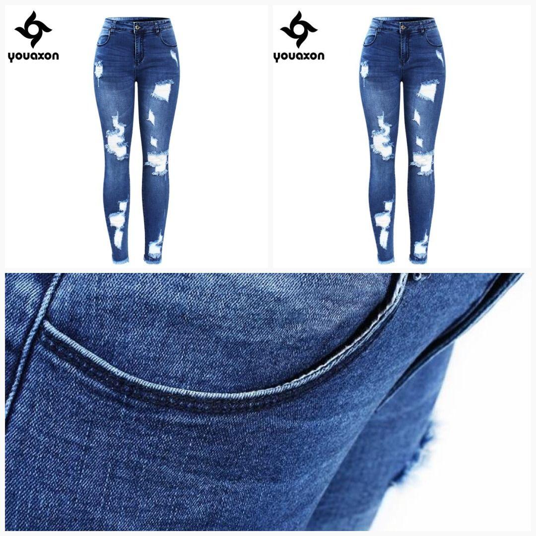 0c96d8fe57b Youaxon New Ultra Stretchy Blue Tassel Ripped Jeans Woman Denim Pants  Trousers For Women Pencil Skinny