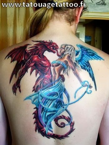 Tatouage Dragon Et Fee Plein Le Dos Femme Blonde Dragontattoos