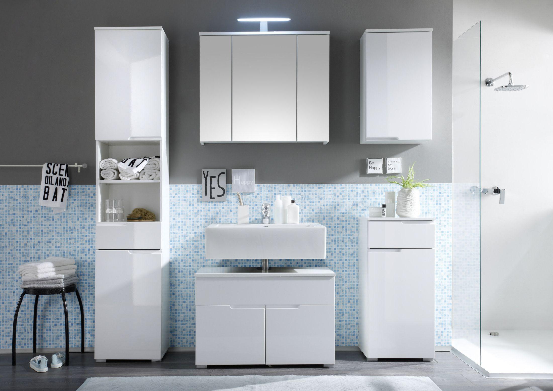 Badezimmer Komplettset ~ Badezimmer set weiss hochglanz woody 32 00067 holz modern jetzt