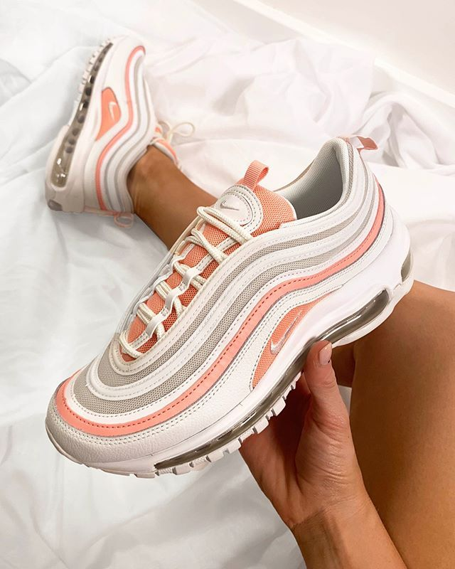 Nike Air Max 97 pink and white sneakers. | Nike shoes women, Nike ...