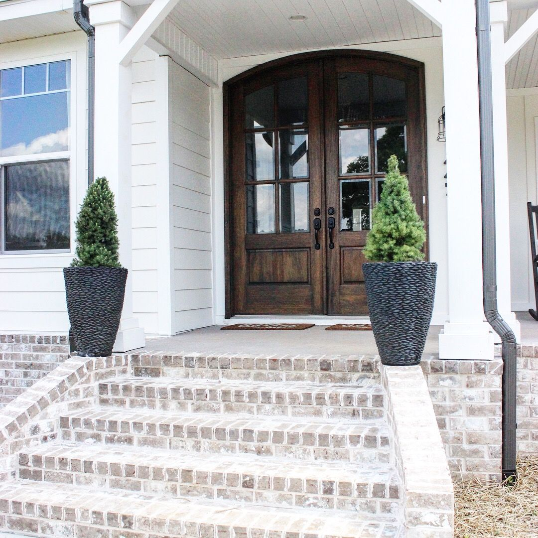 Best Front Steps Brick Steps Farmhouse Modern Farmhouse Exterior Brick Farmhouse White Wash 400 x 300