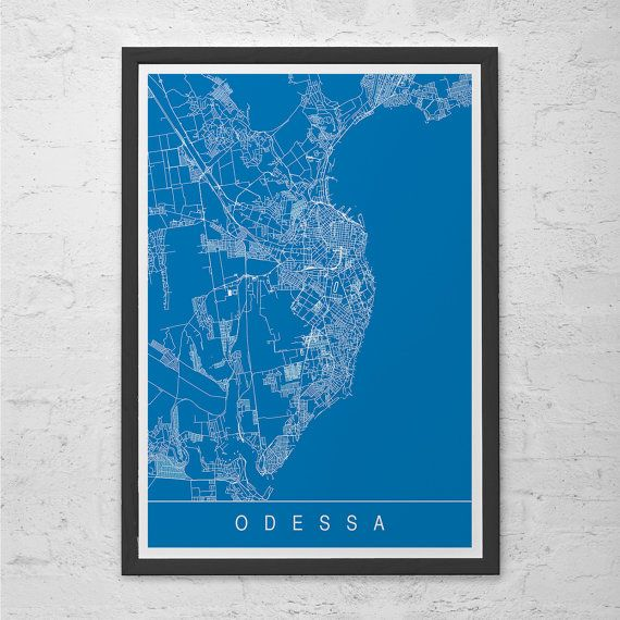 ODESSA MAP ART Print  Modern Odessa Russia City Print Art