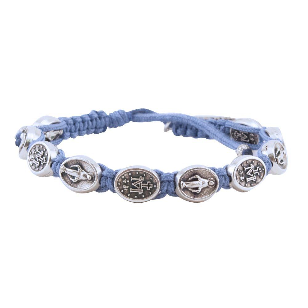 Miraculous Medal Macrame Bracelet, Blue | The Catholic Company
