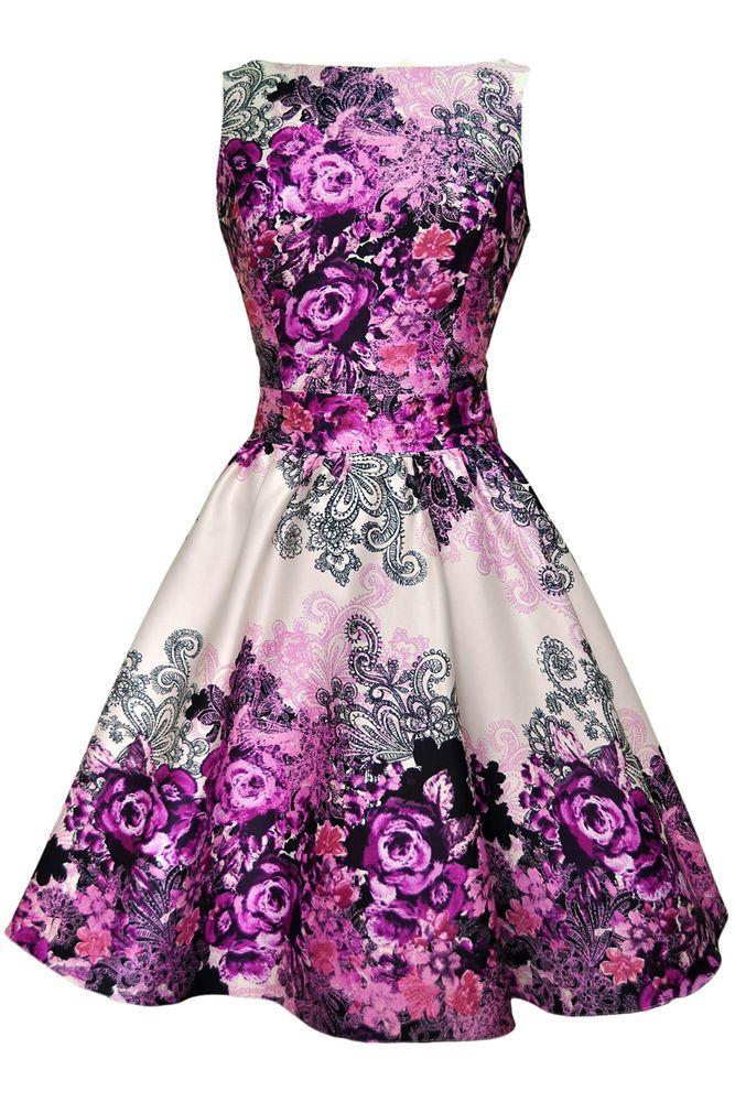 Lady V London 50\'s Retro Vintage Purple Rose Floral Collage Cream ...