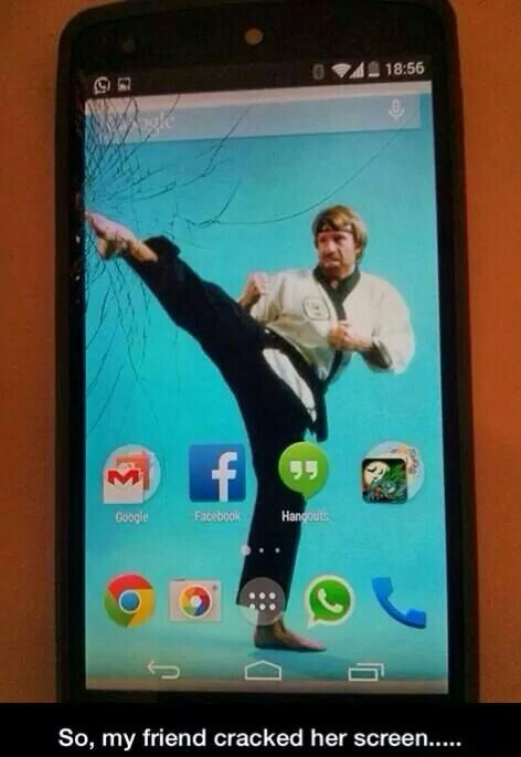 Chuck Norris Can Fix Your Cracked Phone Screen Without Even