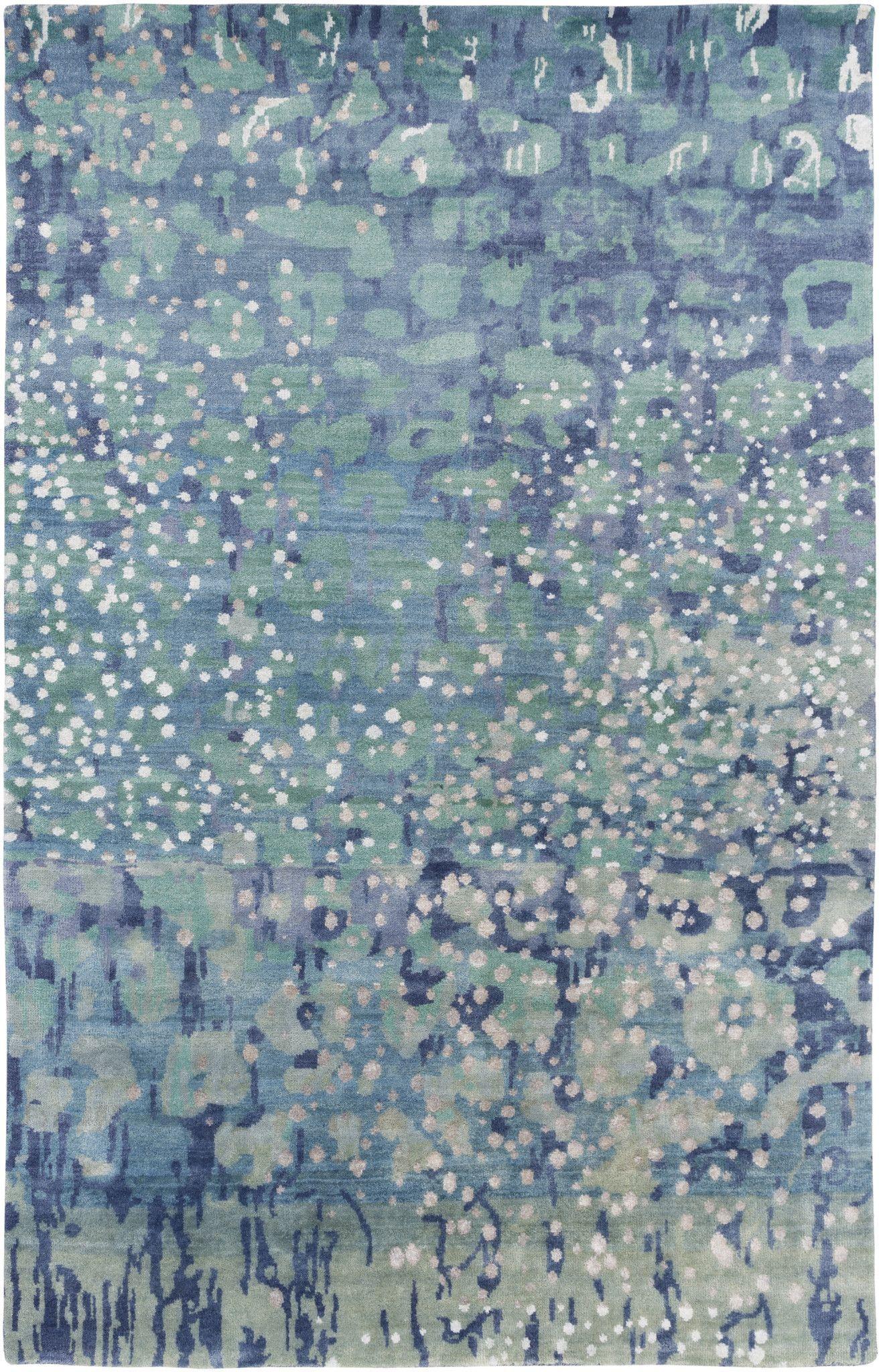 Surya Watercolor Wat5005 Green Blue Modern Area Rug Area Rugs