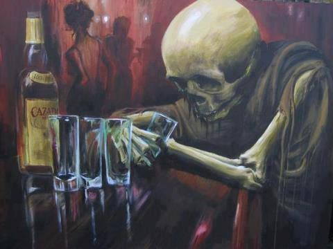 Drawing death art sad painting alone dark magic drinking for Painting while drinking wine