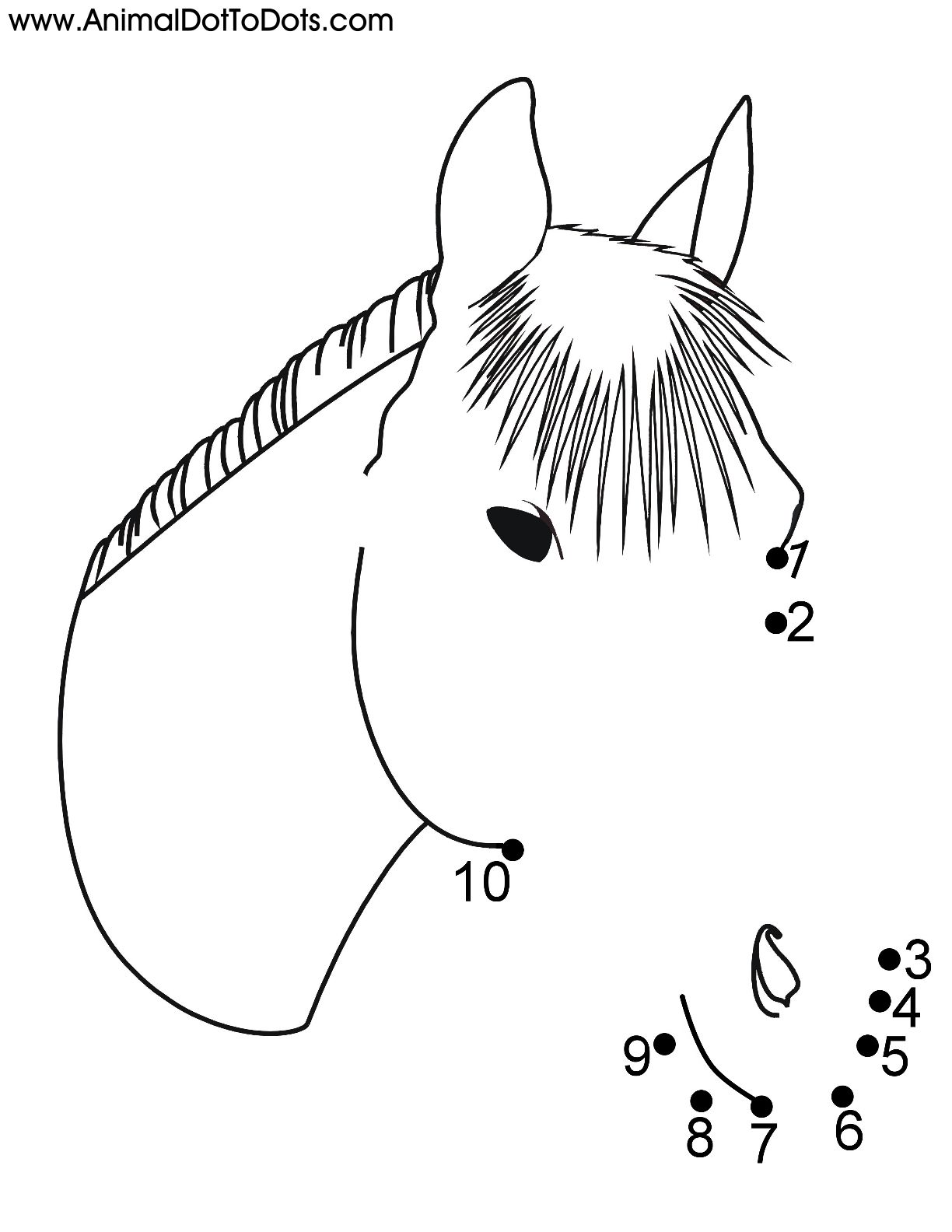 Free Printable Animal Dot To Dot Horse