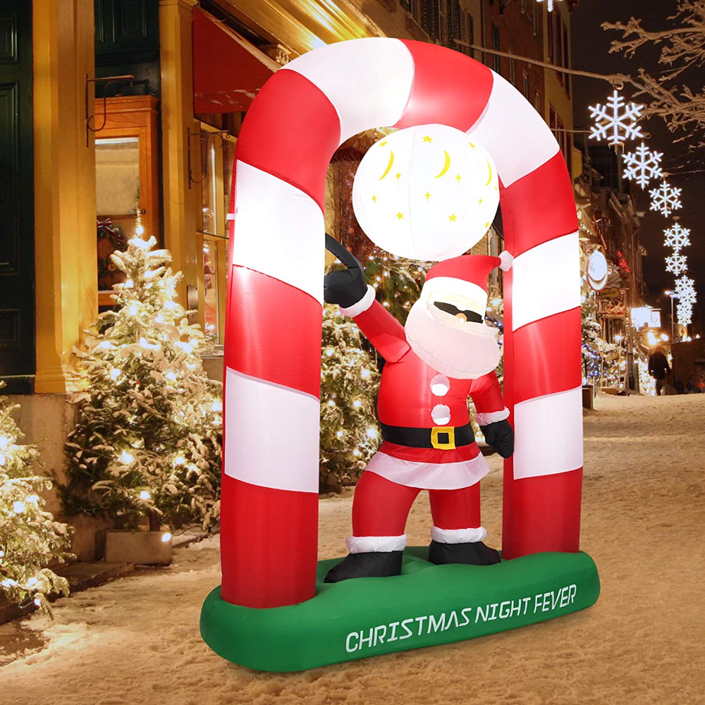 Amazon Com Tangkula 8 Ft Inflatable Christmas Stocking Arch With Disco Santa Claus Blow Up Lighted In In 2021 Christmas Lights Inflatable Santa Christmas Decorations