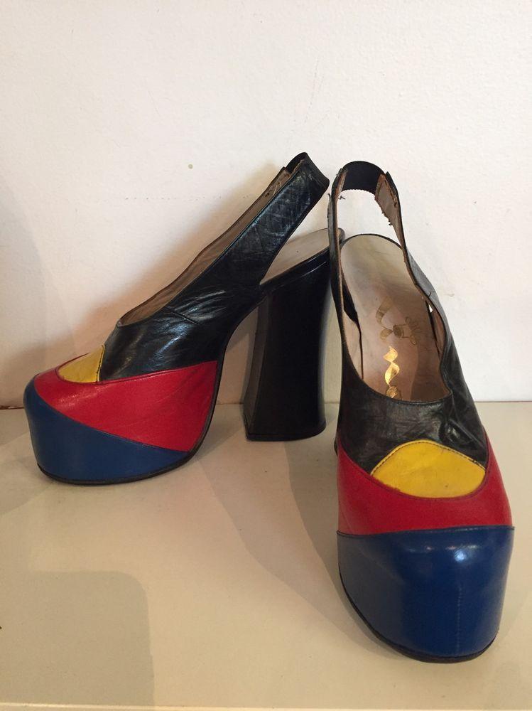 b1a3f427c01 Nina Vintage 70s Iconic Patchwork Glam Rock Platform Heel 7  Nina  Heels