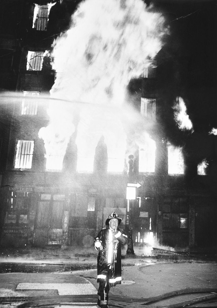Fully involved building fire, 50s or 60s. Roland Oxton Photo