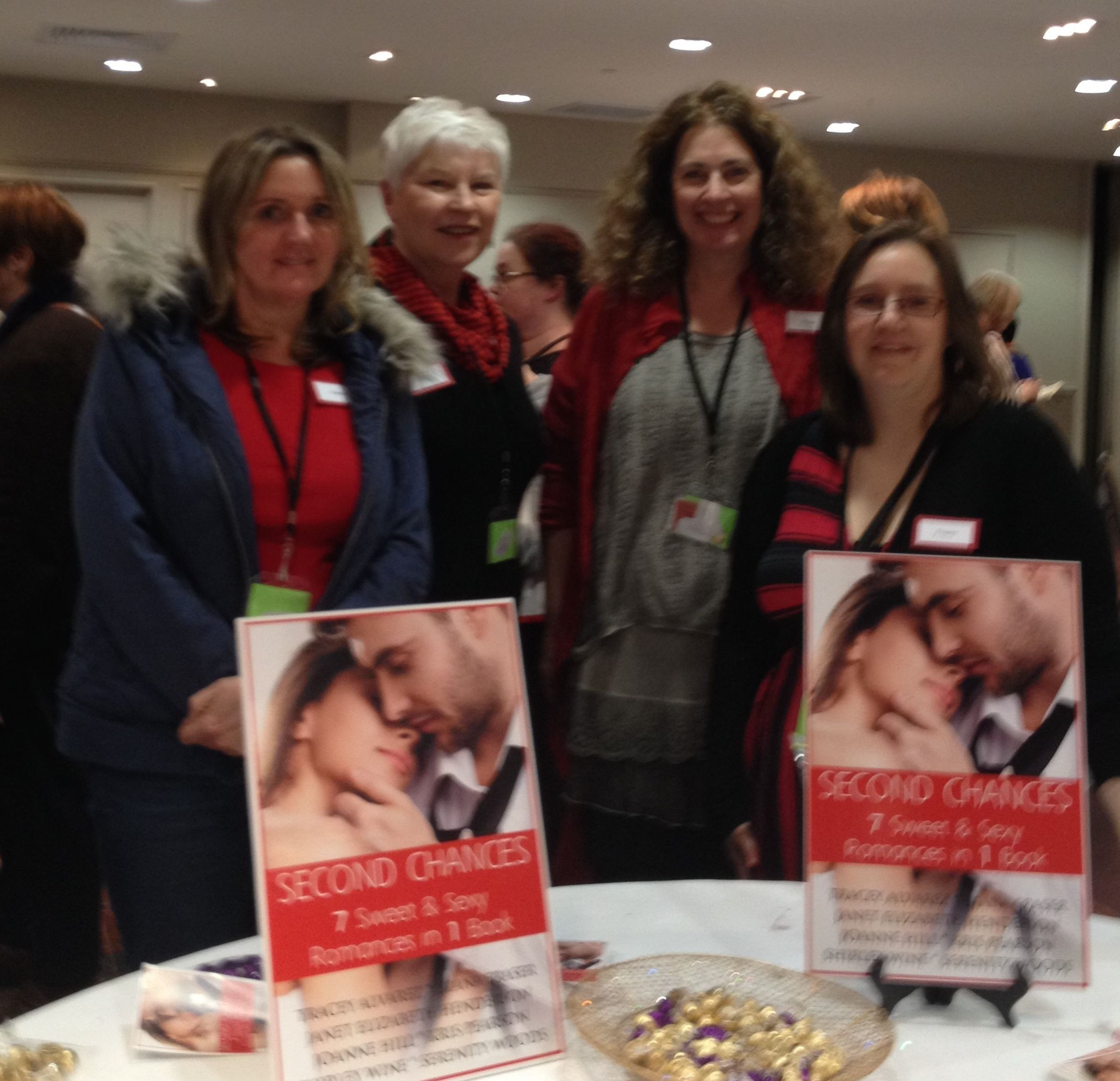 Four of the Kiwi Indie Authors at RWNZ 2014 Conference. From left to right: Joanne Hill, Kris Pearson, Diana Fraser, Tracey Alvarez