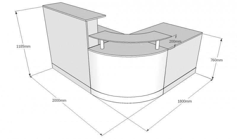Curved Quadrant Reception Desk With Silver Kicker Board Dimension X High Free Uk Delivery