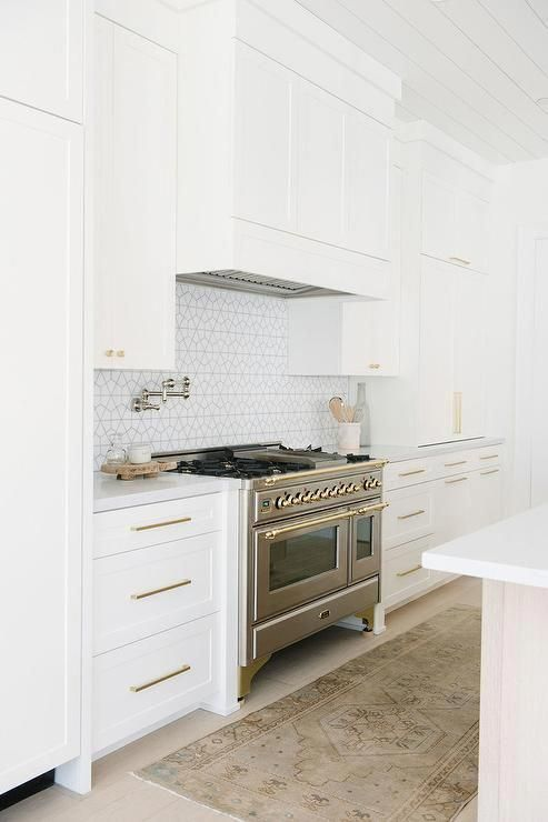 White and Gray Geometric Cooktop Backsplash Tiles - Transitional - Kitchen
