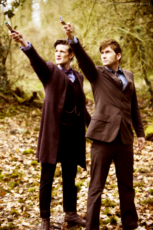 Matt Smith and David Tennant in The Day of the Doctor. FINALLY saw this! 10 &  11 are so funny together!