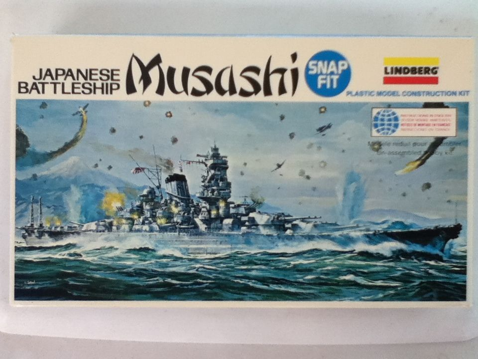 Japanese Battleship Musashi 1:1150 scale snap fit model kit - free shipping! #Lindberg