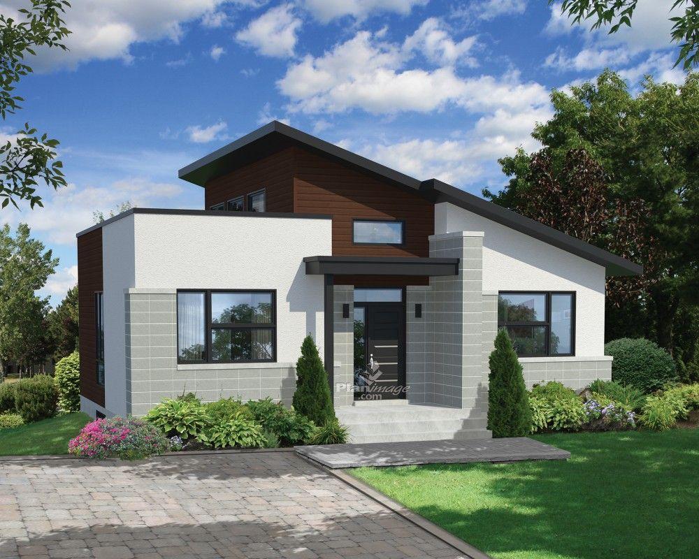 Cette ravissante maison de plain pied affiche deux styles de toitures le toit plat et la toiture à un versant elle mesure 36 pieds 10 pouces de largeur