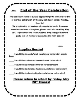 End Of The Year Party Letter Letter To Parents End Of School