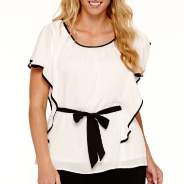 Alyx Ruffle Sleeve Top With Contrast Trim Plus Found At Jcpenney