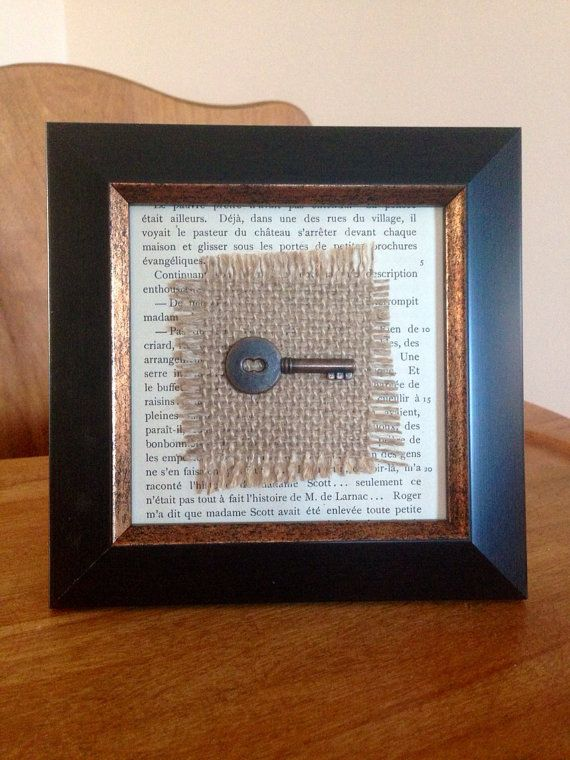 Framed Key Decor Skeleton By Telltalehome 10 50 I M A Little Obsessed With Burlap And Keys