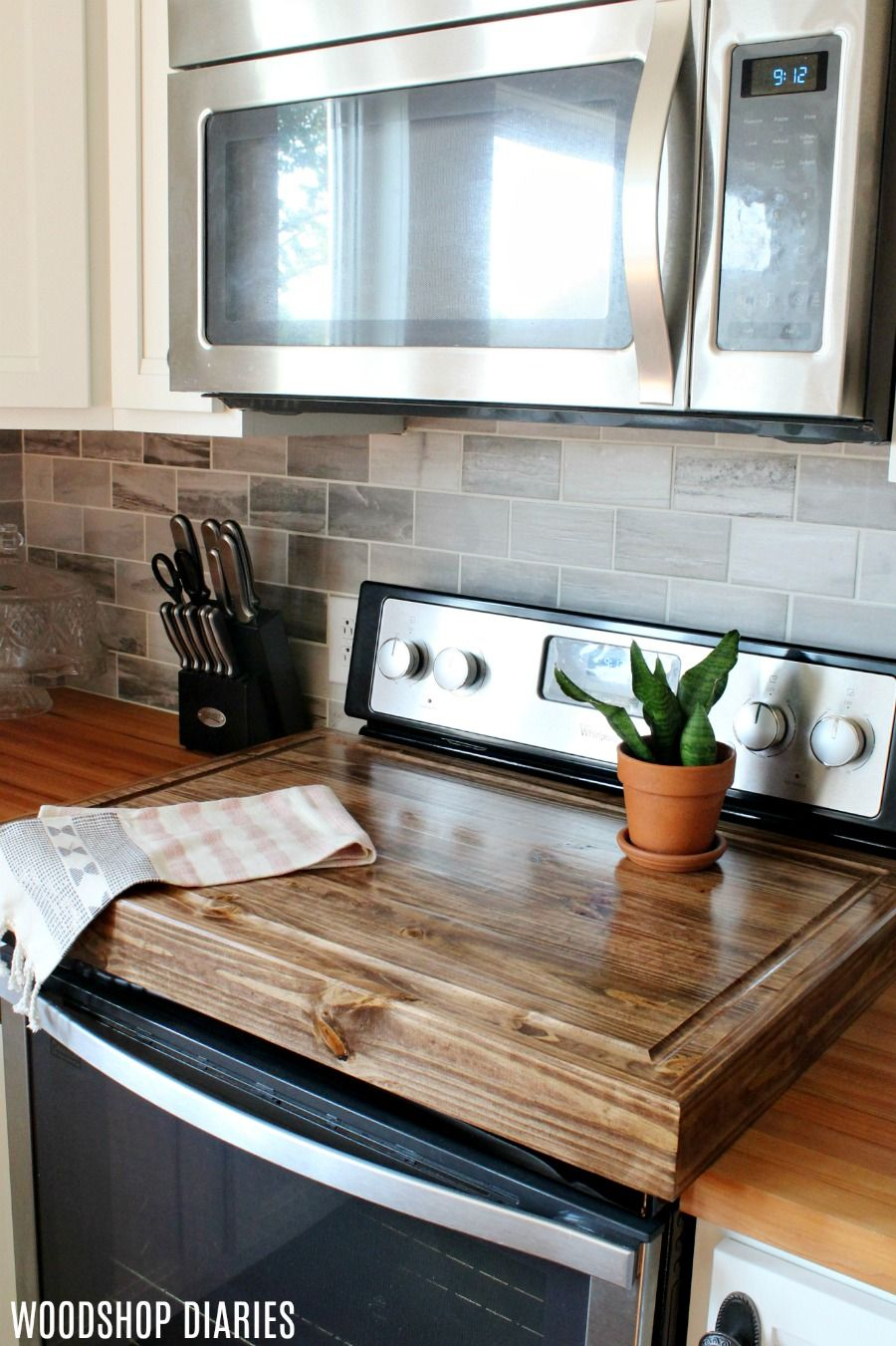 Make A Diy Wooden Stove Top Cover And Add More Counter Space To Your Kitchen Wooden Stove Top Covers Stove Top Cover Kitchen Decor