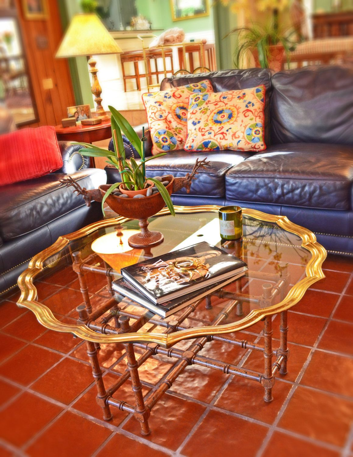Mid Century Fabulous - Brass \u0026 Glass Scalloped Top Coffee Table ...