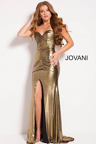 Gold Metallic Ruched Strapless Bodice Fitted Prom Dress 51552 ...