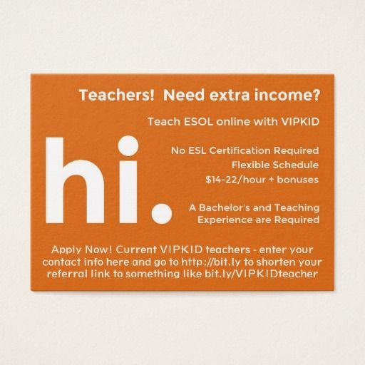 VIPKID Teacher Referral Recruitment Cards Pinterest Teacher - Kid business card template