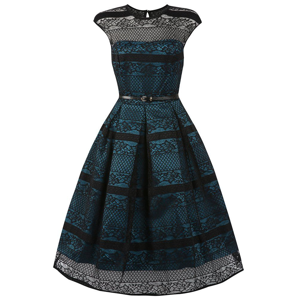 Harlow Teal Black Lace Swing Dress | Vintage Style Dresses - Lindy ...