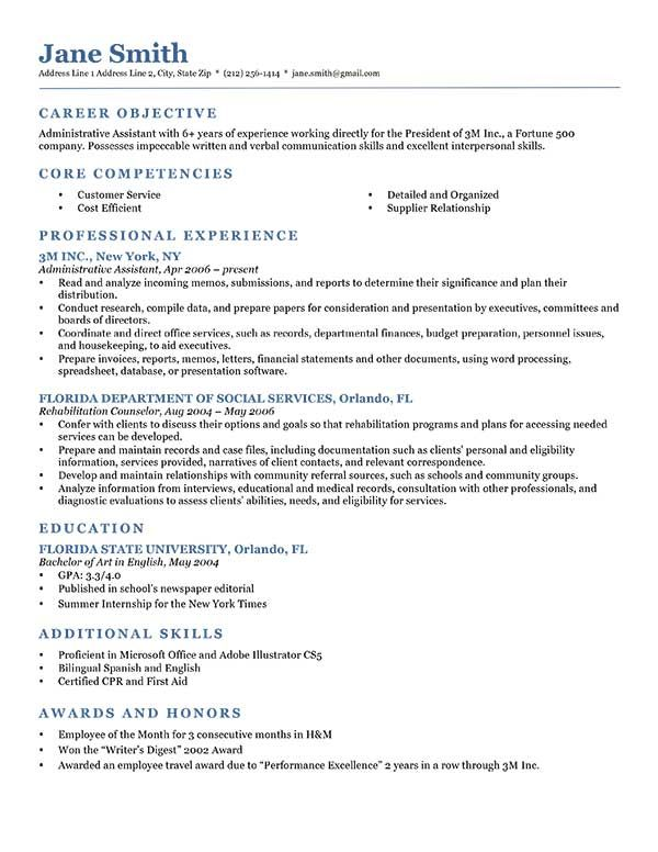 Examples Resume Templates Pinterest Sample resume, Resume