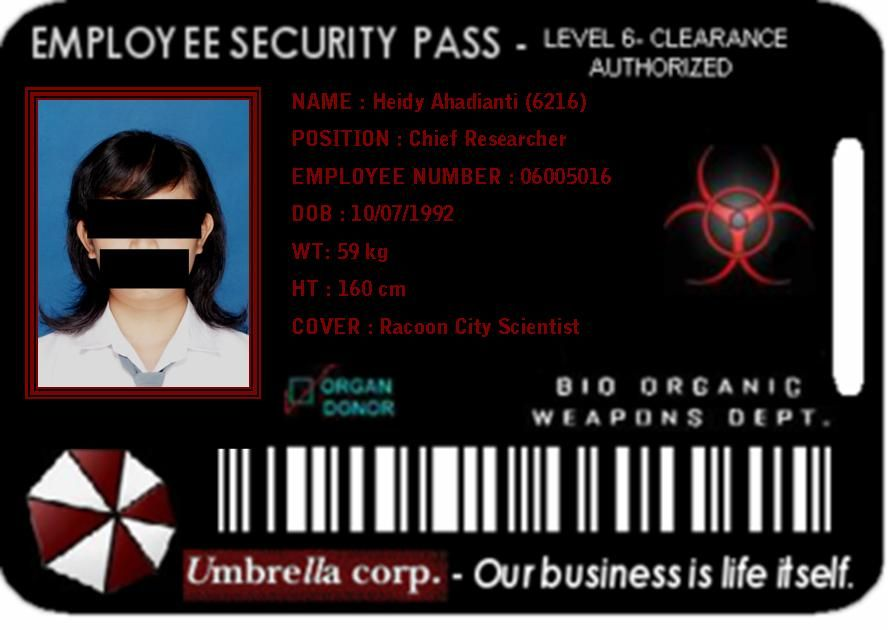 My Id Card In Umbrella Corp By Dheeantzz On Deviantart Umbrella Resident Evil Movie Resident Evil Game