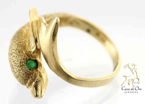 14K Yellow Gold Sparkle Dolphin Ring with Emerald Eyes 14K