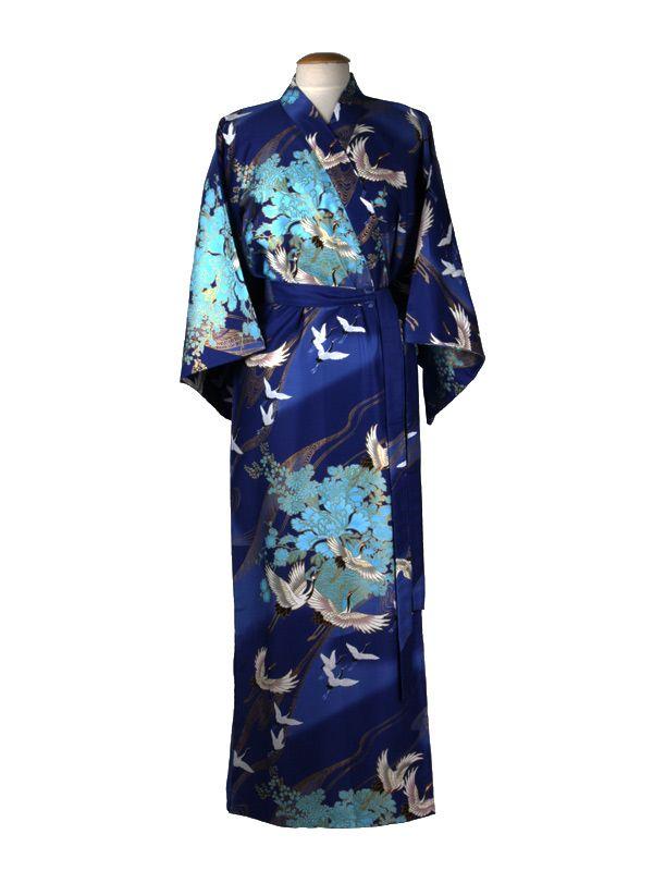 8b45de39e00 Mooie, comfortabele Japanse Kimono van katoen met kraanvogel motief.  Diverse schitterende kleuren. € 84,95.