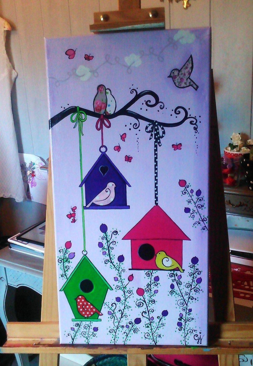 les nichoirs toile acrylique 30x60 cm quel baz 39 art tableaux oiseau pinterest toiles. Black Bedroom Furniture Sets. Home Design Ideas