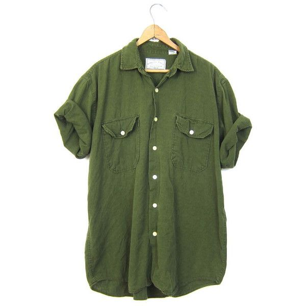 Army green linen cotton shirt 90s pocket tshirt button up for Cotton button up shirt