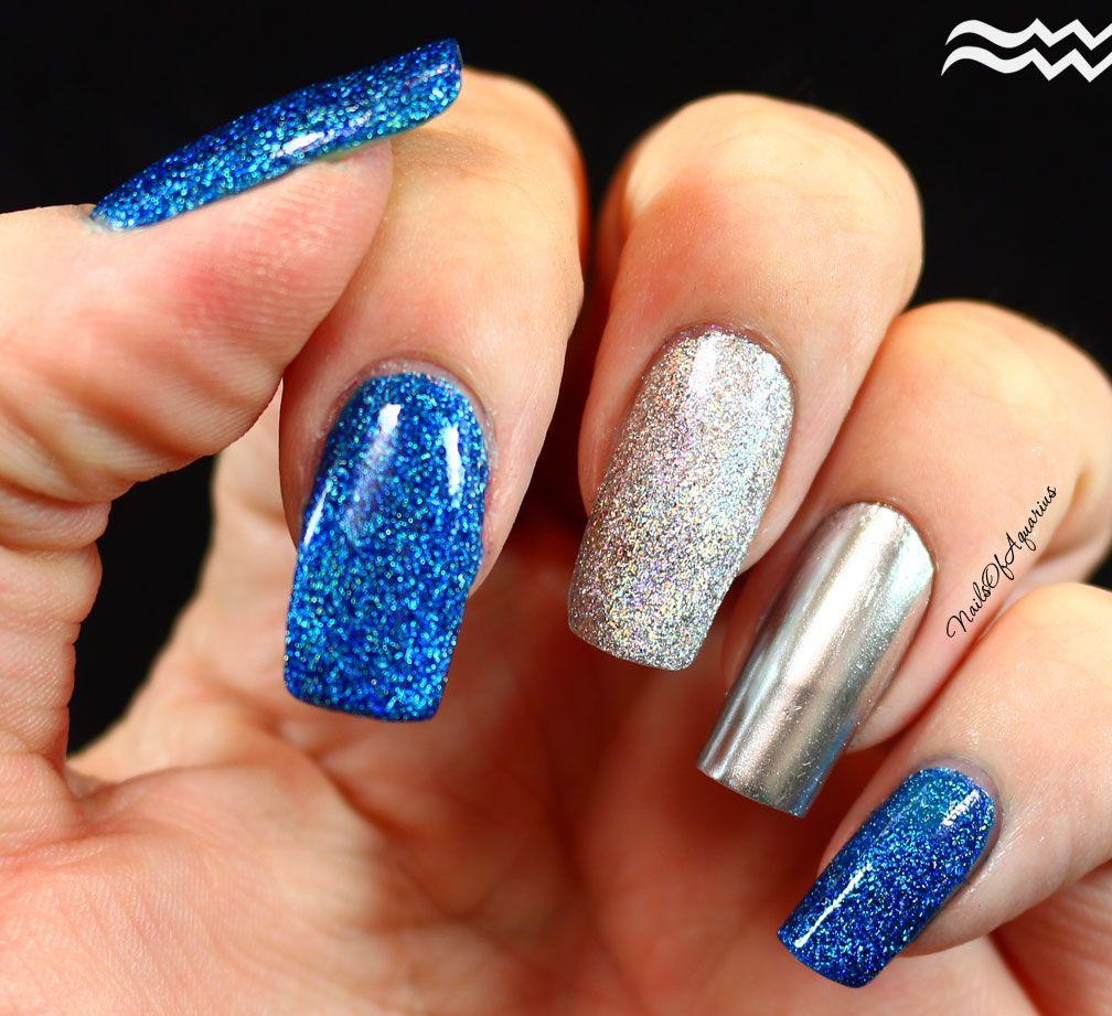 Sapphire Splendor, nails polished with Dance Legend Night Ranger and OPI Push & Shove