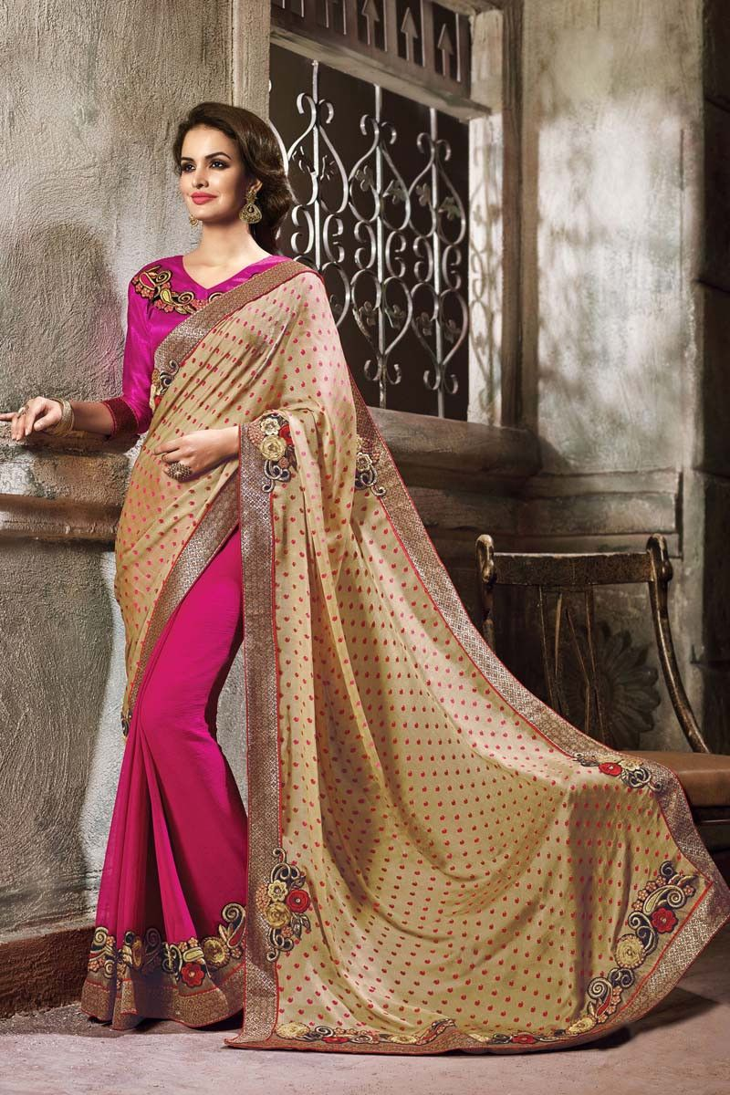 Cream satin wedding saree wedding sarees on variation pinterest