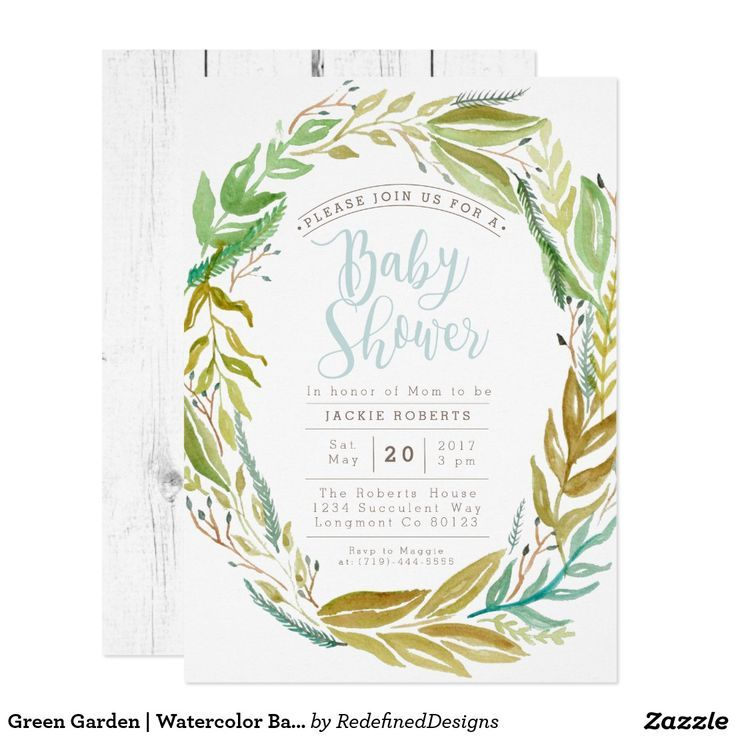 Green Garden   Watercolor Baby Shower Invite