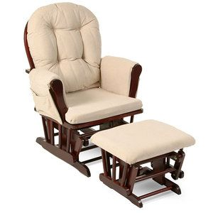 Walmart Rocking Chair Glider Hanging Cushion Storkcraft Bowback Rocker And Ottoman Cherry Finish Beige Cushions 140 00