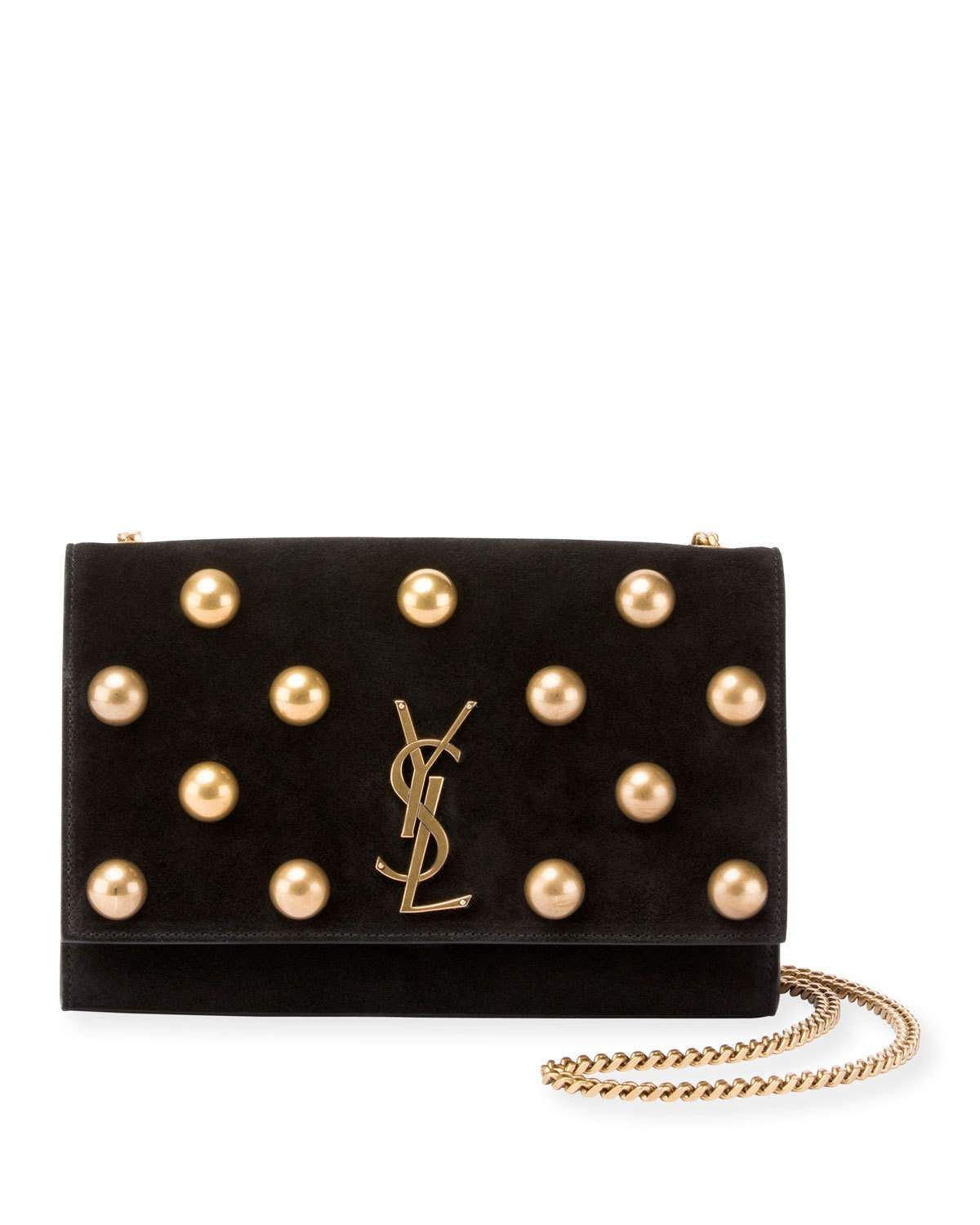 a7ae3e91 Kate Monogram YSL Medium Dome-Stud Suede Shoulder Bag | Products ...