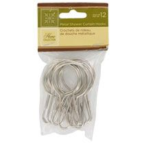 Bulk Home Collection Metal Shower Curtain Hooks 12 Ct Packs At