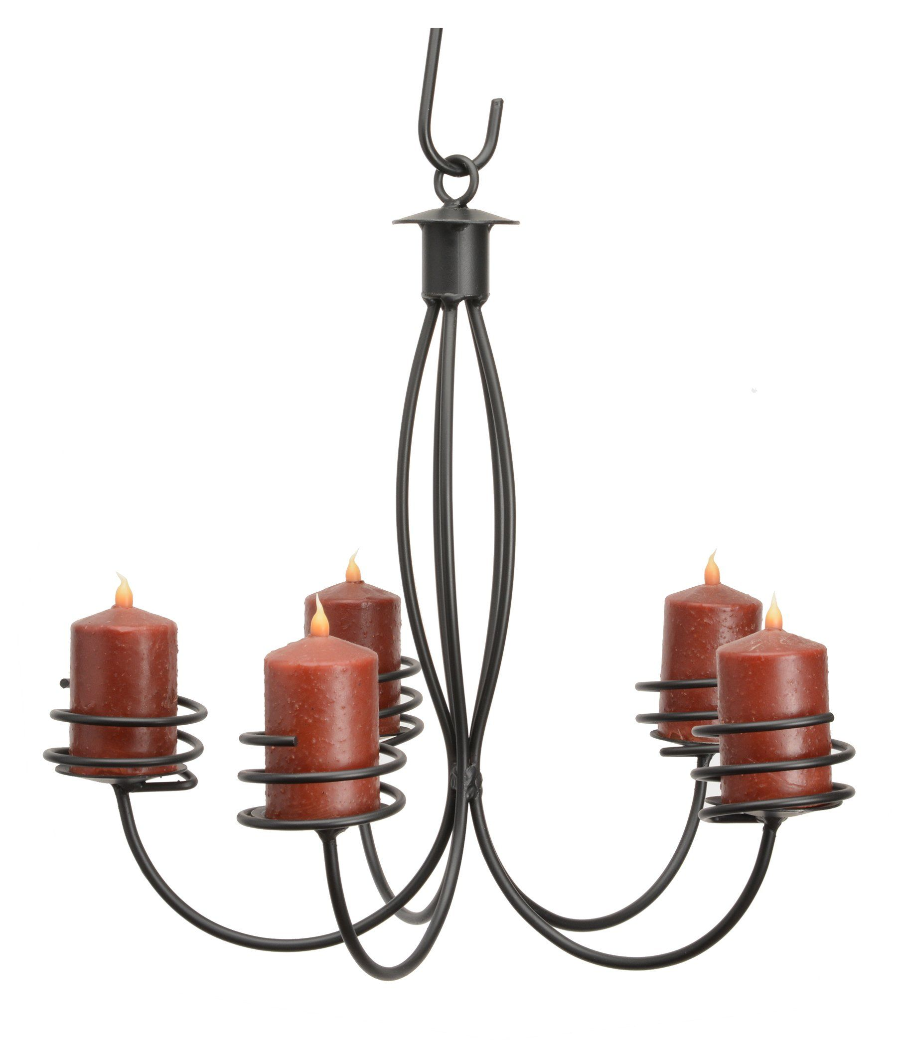 5 arm wrought iron pillar candle chandelier handcrafted colonial 5 arm wrought iron pillar candle chandelier handcrafted colonial candelabra usa arubaitofo Choice Image
