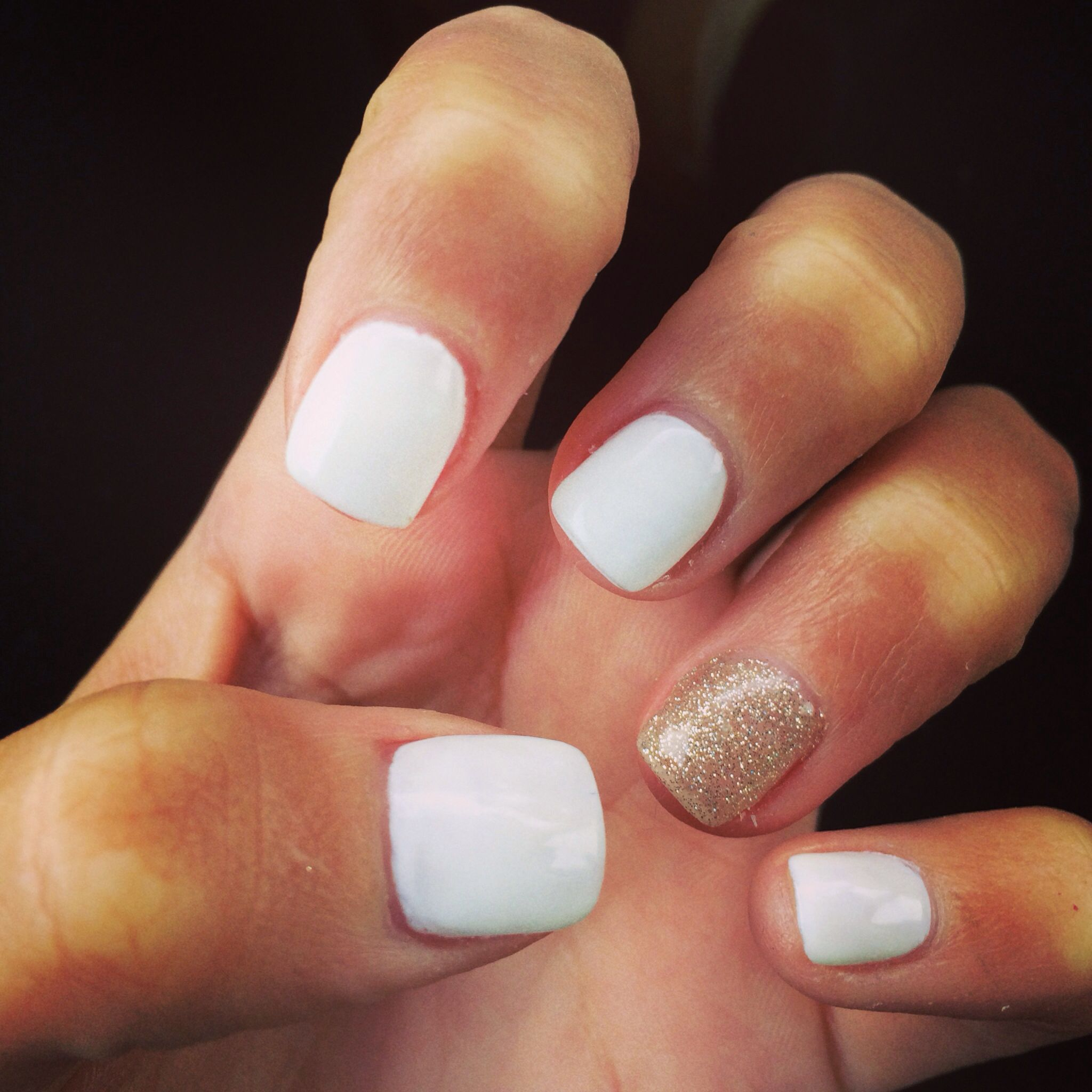 White acrylic nails For the holidays | NAILS | Pinterest