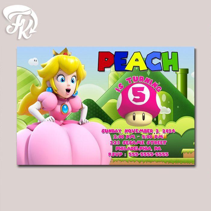 Princess Peach Super Mario Game Birthday Party Card Digital Invitation Invitations