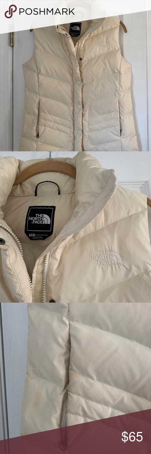 Cream North Face Puffer Vest M North Face Puffer Clothes Design Fashion [ 1740 x 580 Pixel ]