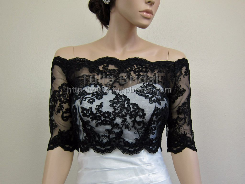 black off shoulder alencon lace bridal bolero wedding