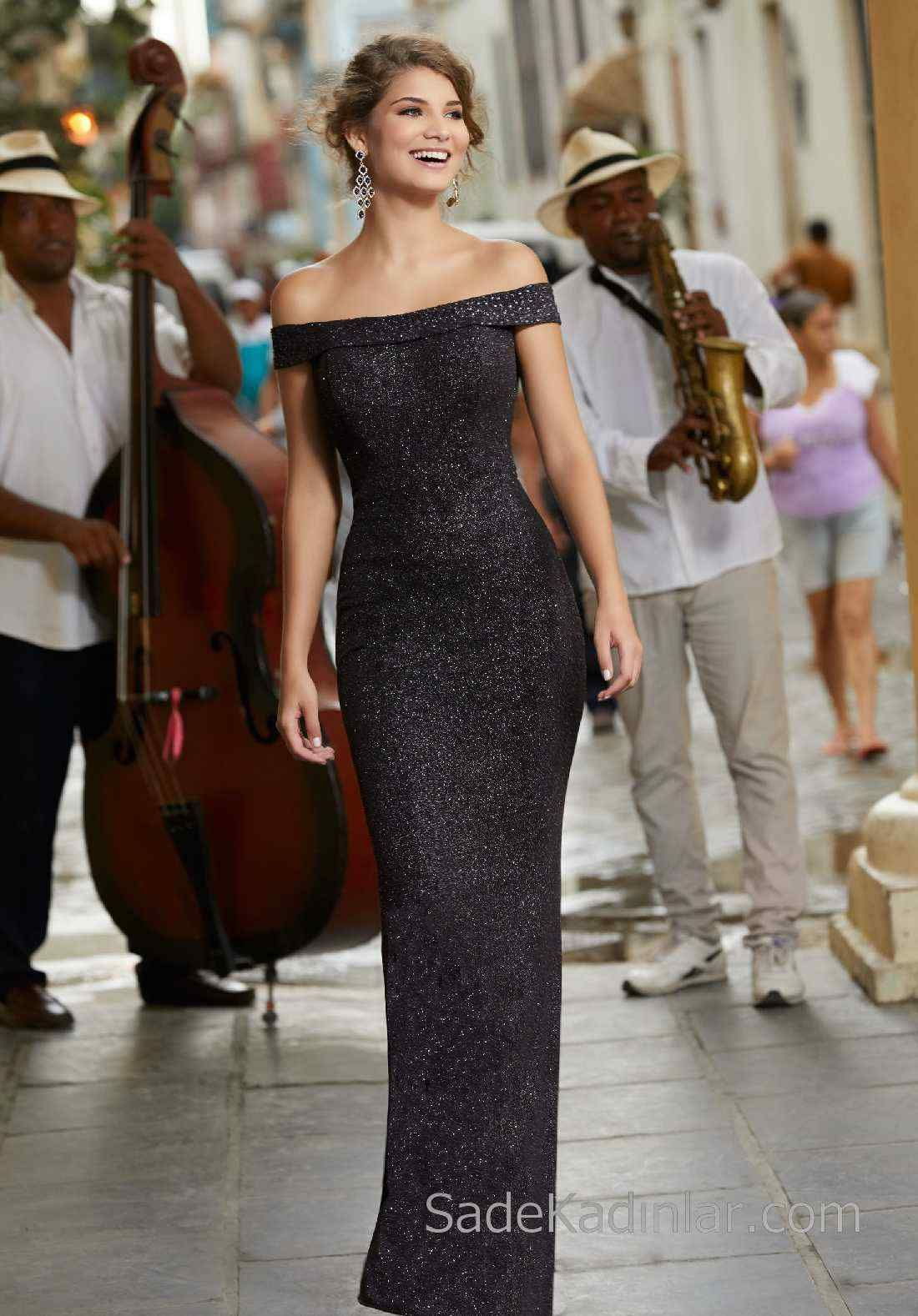 2020 Abiye ve Gece Elbiseleri Şık Abiye Modelleri Siyah Uzun