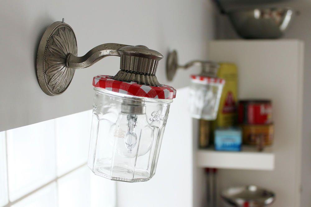appliques r alis es avec des pots de confitures bonne maman recyclage d co vintage r cup. Black Bedroom Furniture Sets. Home Design Ideas