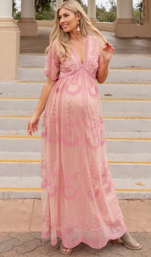 31++ Pink maternity maxi dress ideas info
