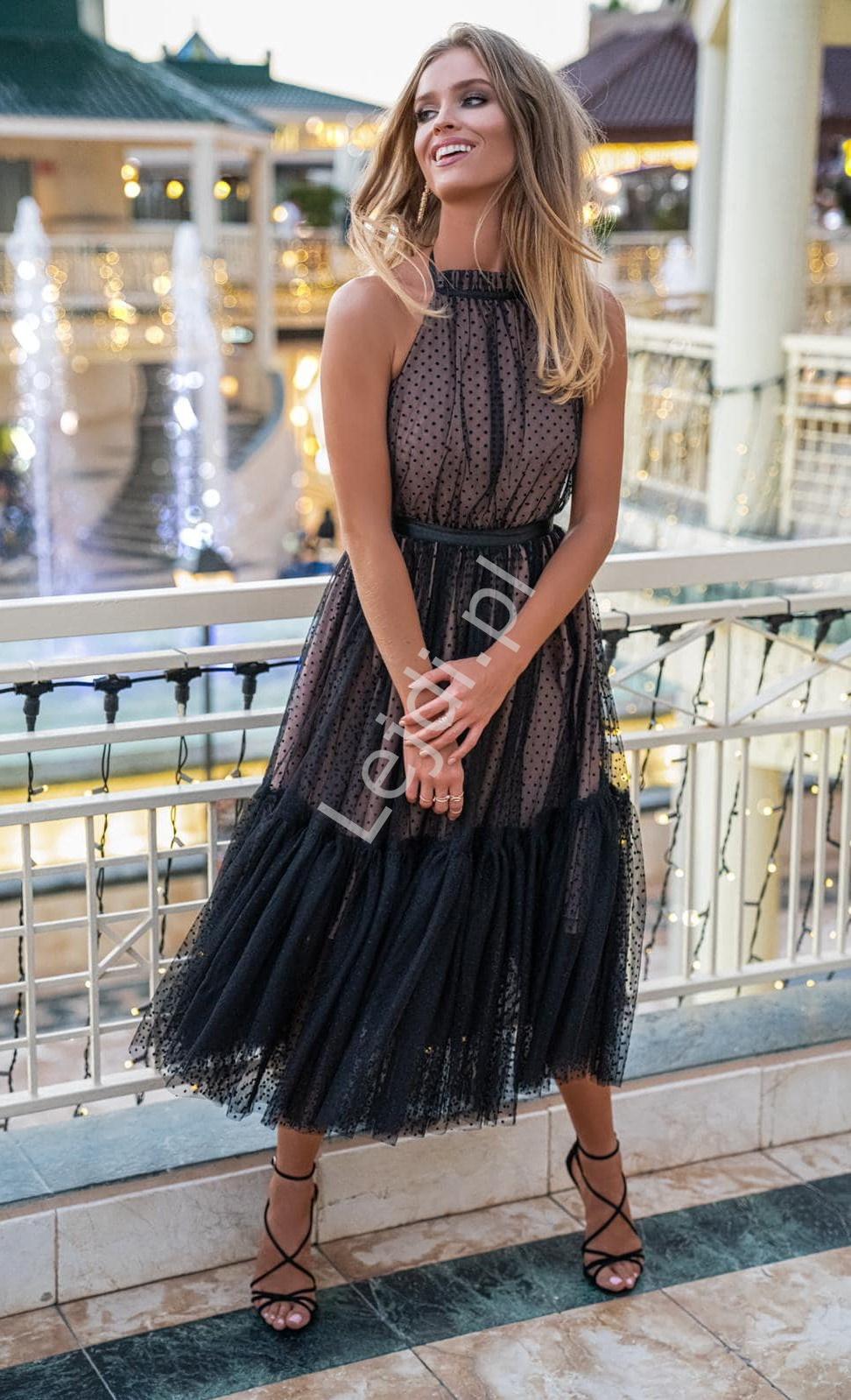 Karmelowa Sukienka Wieczorowa W Czarne Kropki Lara Dresses Fashion High Low Dress